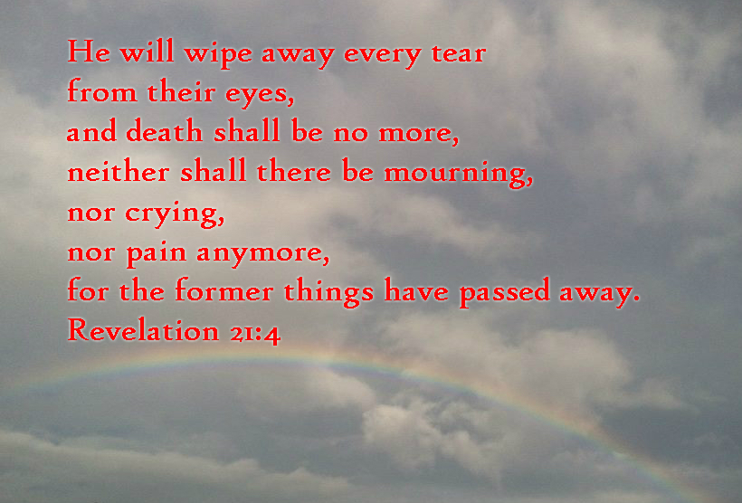 He will wipe away every tear from their eyes, and death shall be no more, neither shall there be mourning, nor crying, nor pain anymore, for the former things have passed away. Revelation 21:4