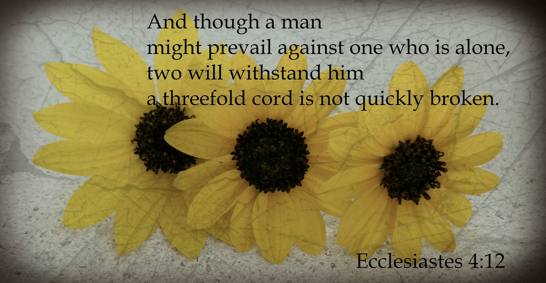 And though a man might prevail against one who is alone, two will withstand him--a threefold cord is not quickly broken. Ecclesiastes 4:12