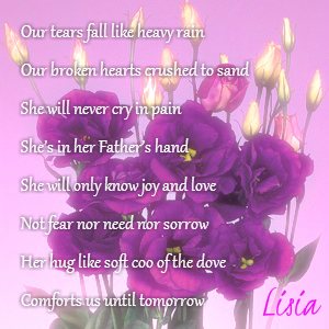 Our tears fall like heavy rain Our broken hearts crushed to sand She will never cry in pain She's in her Father's hand She will only know joy and love Not fear nor need nor sorrow Her hug like soft coo of the dove Comforts us until tomorrow