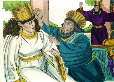 "Haman begs Esther for his life. And the king arose in his wrath from the wine-drinking and went into the palace garden, but Haman stayed to beg for his life from Queen Esther, for he saw that harm was determined against him by the king. And the king returned from the palace garden to the place where they were drinking wine, as Haman was falling on the couch where Esther was. And the king said, ""Will he even assault the queen in my presence, in my own house?"" Esther 7:7-8"