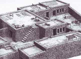 a drawing of a home in ancient Israel with parapets on the roof