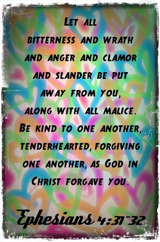 Let all bitterness and wrath and anger and clamor and slander be put away from you, along with all malice. Be kind to one another, tenderhearted, forgiving one another, as God in Christ forgave you. Ephesians 4:31-32 On hearts graphic by Lani Campbell