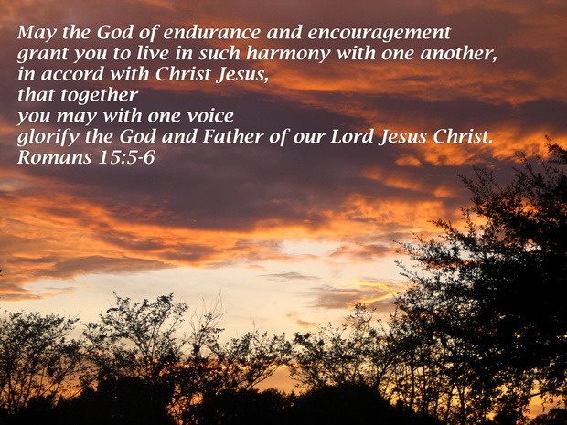 May the God of endurance and encouragement grant you to live in such harmony with one another, in accord with Christ Jesus, that together you may with one voice glorify the God and Father of our Lord Jesus Christ. Romans 15:5-6
