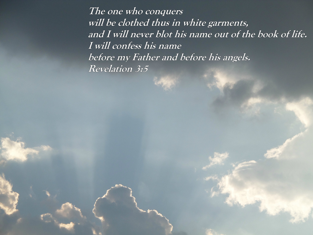 The one who conquers will be clothed thus in white garments, and I will never blot his name out of the book of life. I will confess his name before my Father and before his angels.  Revelation 3:5 on photo image of Jesus in the clouds
