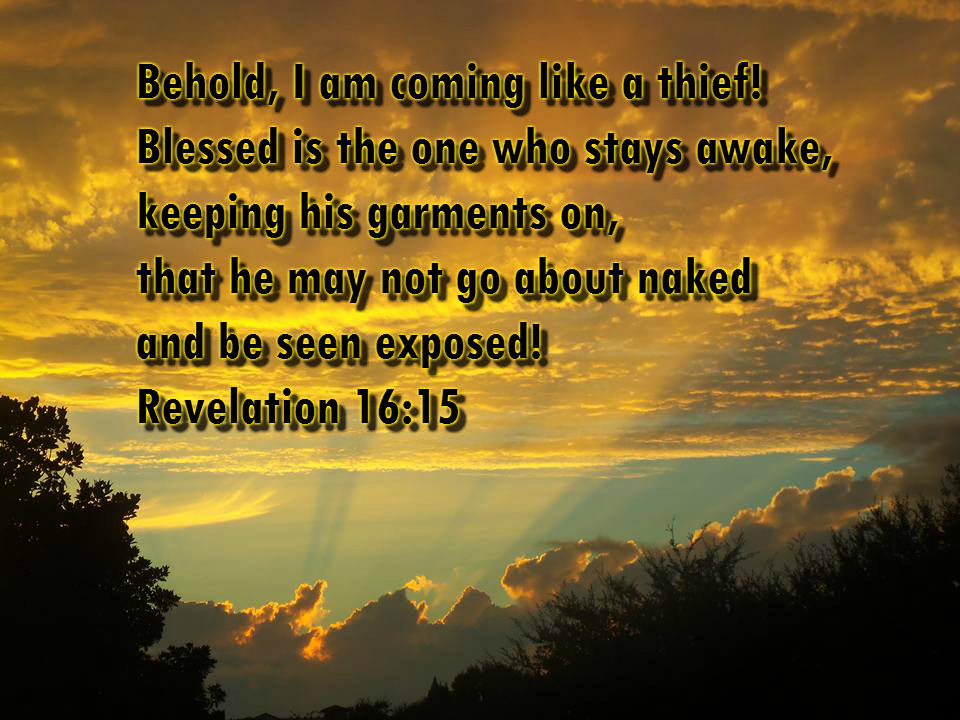 Behold, I am coming like a thief! Blessed is the one who stays awake, keeping his garments on, that he may not go about naked and be seen exposed! Revelation 16:15 Photo by Lani Campbell